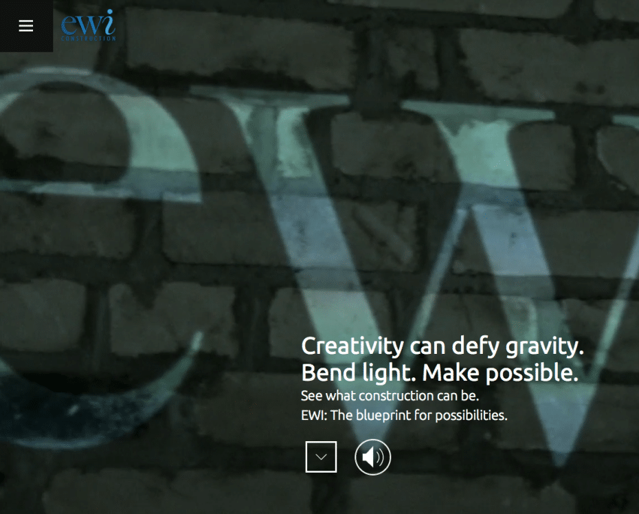 Screenshot of EWI Construction Website homepage (with border-to-border video)